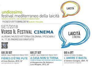 Banner per Rassegna CINEMA all'interno del Festival Mediterraneo della laicità